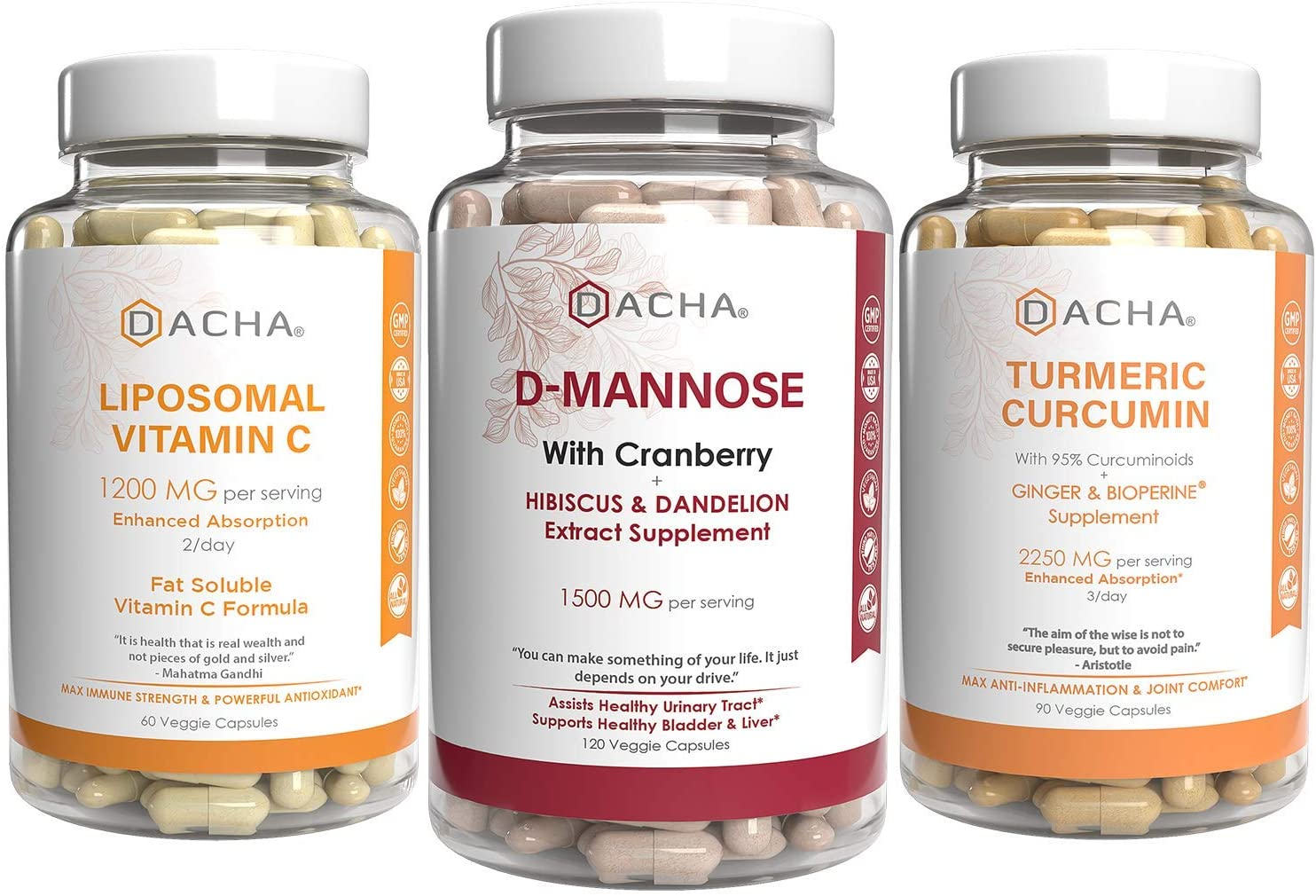 Triple Strength Urinary Tract Health Bundle - D Mannose, Liposomal Vitamin C and Turmeric, With Cranberry, Ginger, Ascorbyl Palmitate, Anti-inflammatory & Antioxidant Rich Formula, UTI Prevent, Relief
