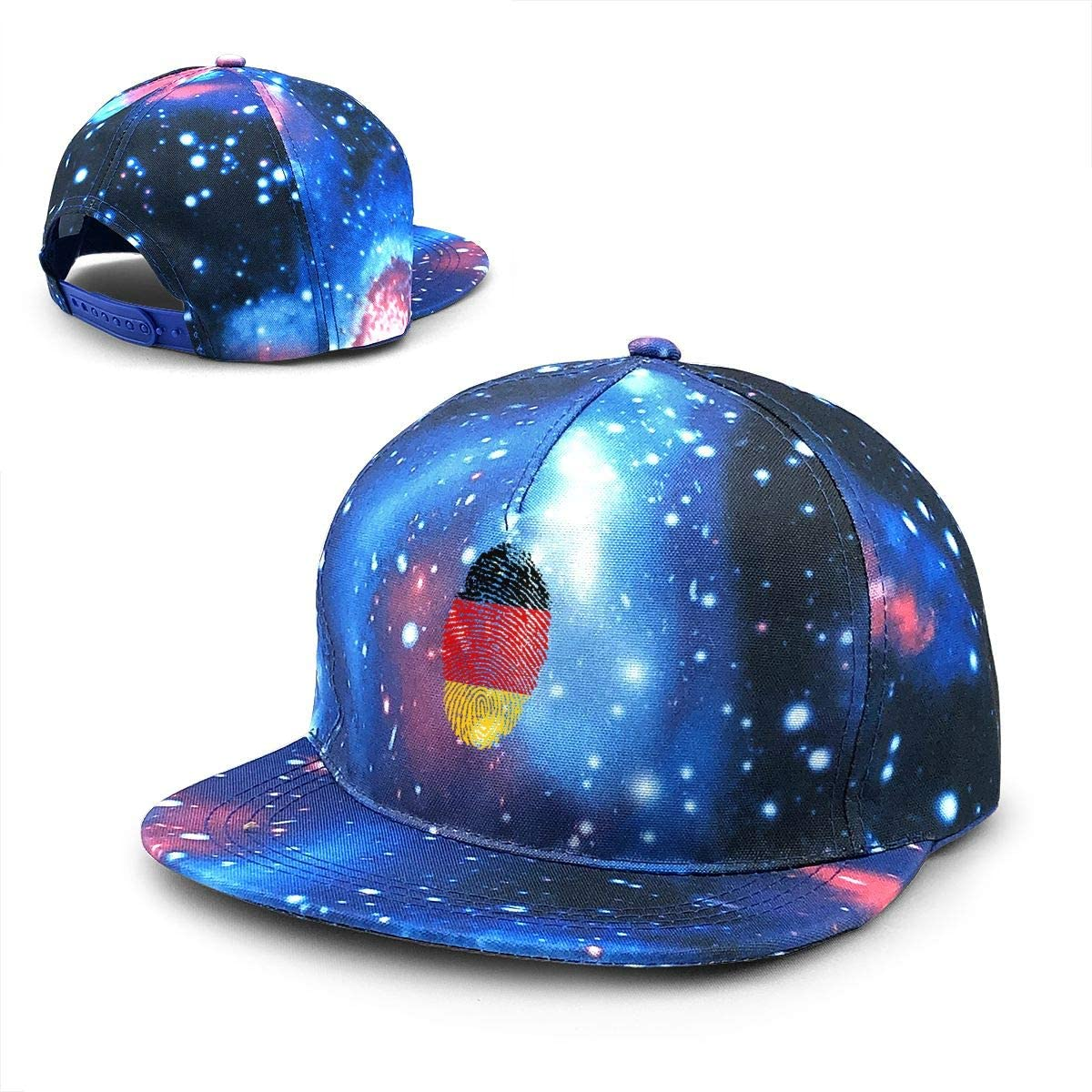 OHMYCOLOR Baseball Caps for Mens Womens Germany Flag Fingerprint Country Casquette Outdoor Trucker Hats Snapback Blue
