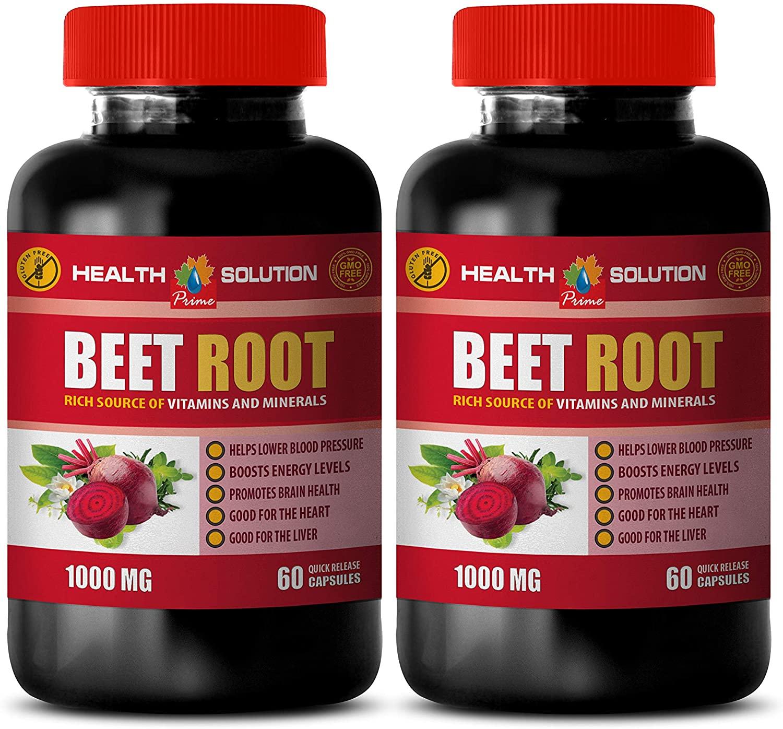 Blood Pressure Natural Supplements - antioxidant Powder - Beet Root 1000MG - Beet Boost - Beet Root Capsules - 2 Bottles (120 Capsules)
