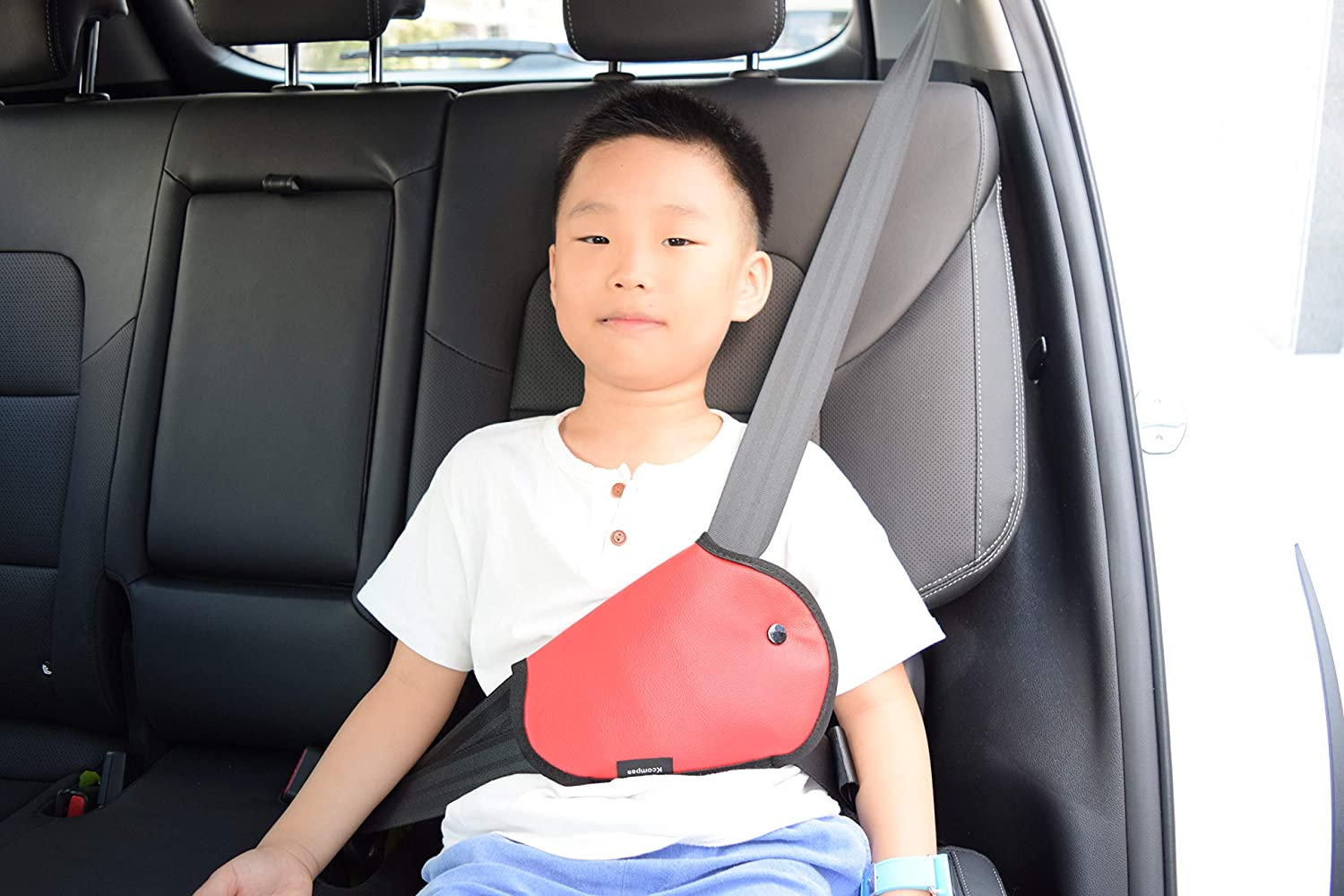 GotoShop Car Kids Seat Belt Cover Harness Repositions Strap Adjuster Leatherette Pad Belt Booster - Baby in Car 4