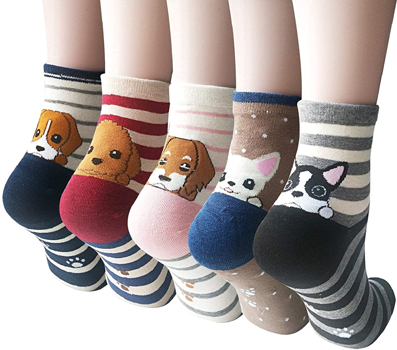 5 or 4 Pairs Womens Cute Animal Socks Dog Cat Fun Cotton Casual Crew Funny Socks
