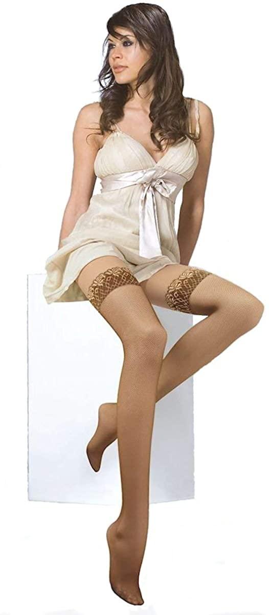 Solidea Brigitte Micro Mesh 70 Sheer Self-Regulating Velvet Compression Sock Graduated 12-15mmHg 70Den Sand 1 S