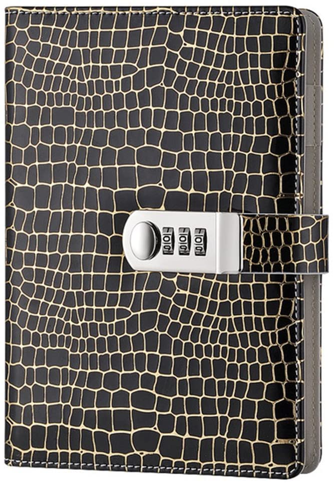 Junshop Stationery Notebook Password With Lock Diary Creative Password Diary Student Handbook Notepad Locking Journal Diary (Black)