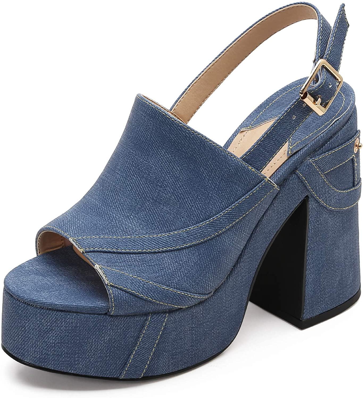 MACKIN J 618-2 Women's Platform Chunky Heel Open Toe Ankle Strap Dress Wedge Sandals
