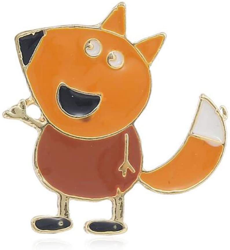 Women's Cute Cartoon Fox Drop Oil Lapel Brooch Pin Children Badges for Clothing Bags Backpacks Jackets Hat Party Favors Decoration