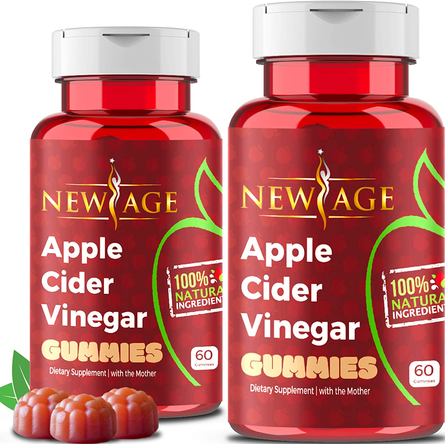 (2-Pack) Apple Cider Vinegar Gummies by New Age - Amazing Taste with Raw, Organic, Unfiltered Mother ACV, B9, B12, Beetroot, Pomegranate. Vegan & Non-GMO Gummy. Made in USA.