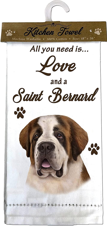 E&S Pets Saint Bernard Decorator Kitchen Towels, Off-white