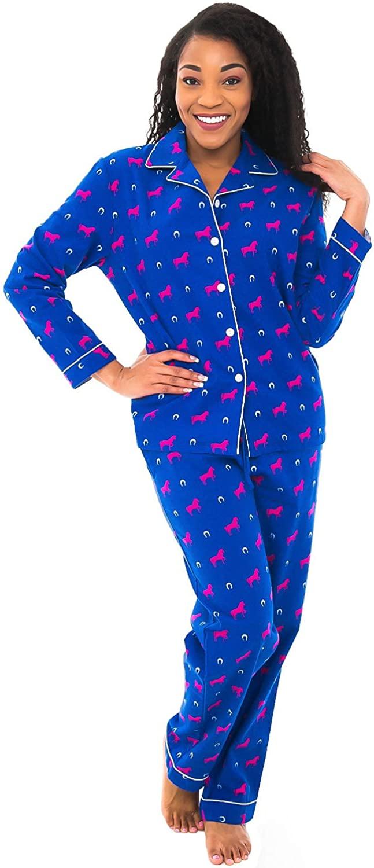 Alexander Del Rossa Women's Warm Flannel Pajama Set, Long Animal Print Button Down Cotton Pjs