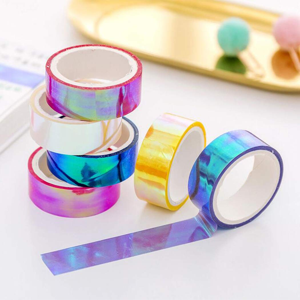 5m Laser Glitter Washi Tape Candy Colors Decorative Adhesive Masking Tapes For Scrapbooking Girls Diy Albums Stationery Tape (Purple)
