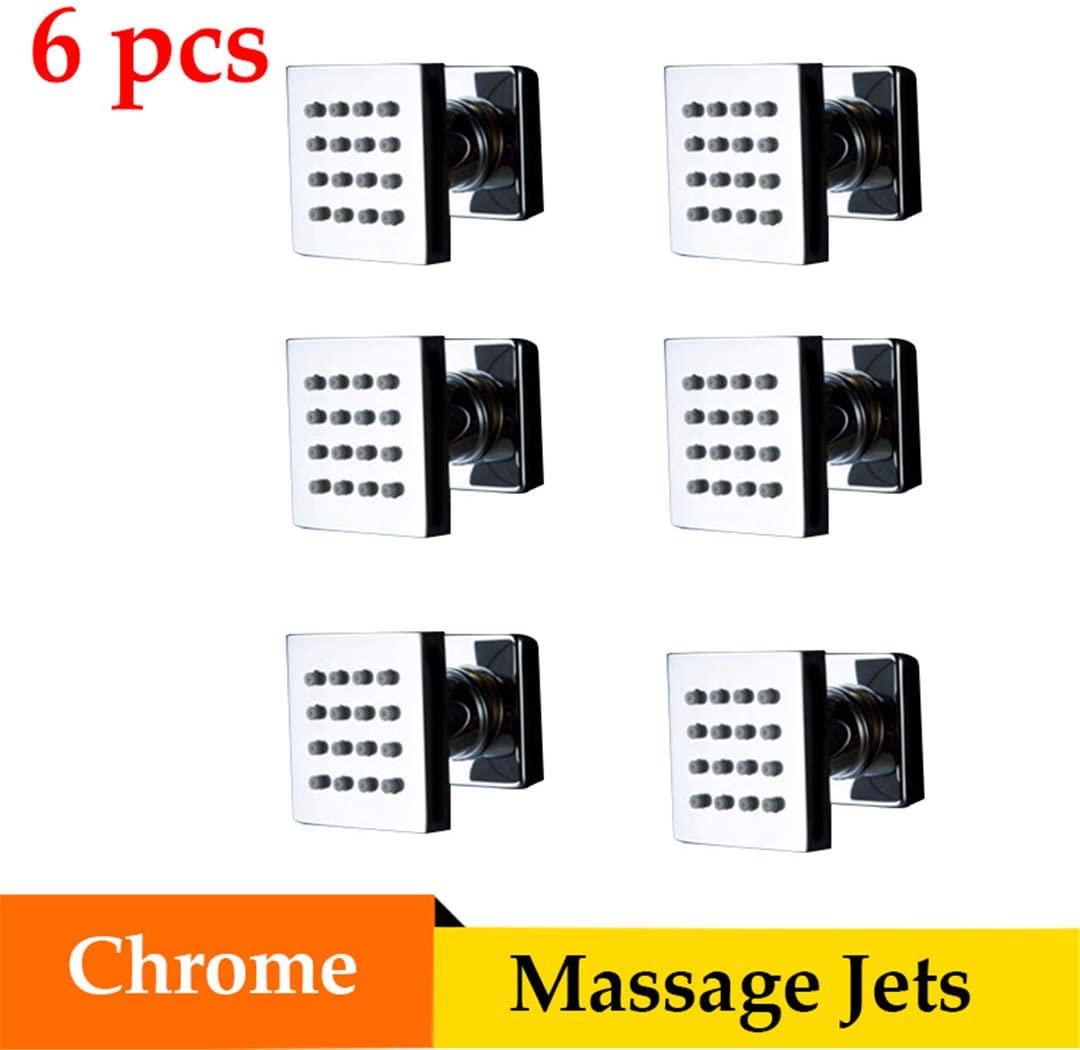 Bestyunyu Shower Faucet Massage Jets 6 Pcs Brass Body Shower Spa 5Cm Square Shower Faucets Chrome