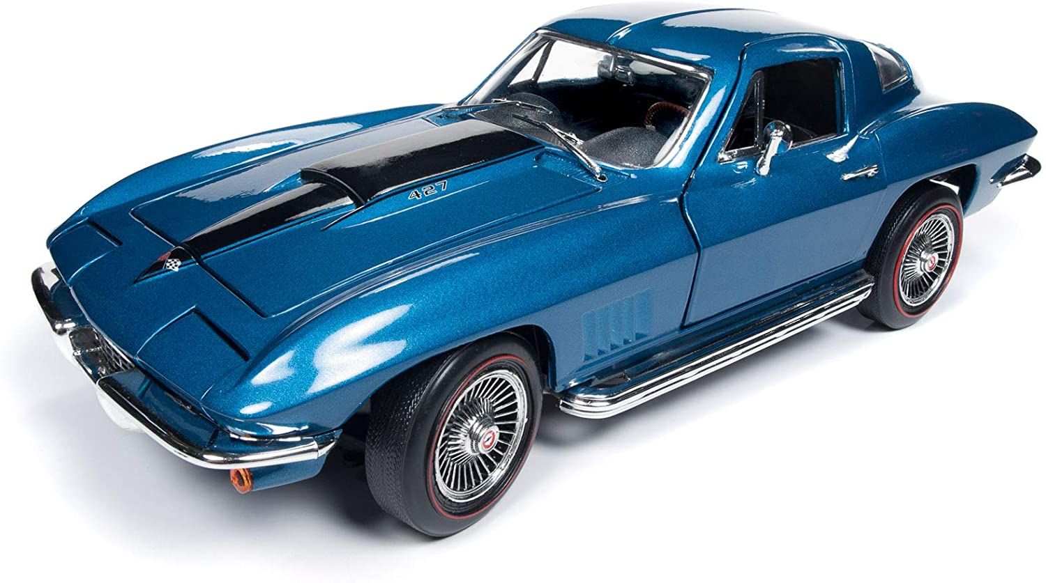 American Muscle – 1967 Chevy Corvette Coupe in Marina Blue - 1/18 Scale Die Cast Collectible Car for Kids and Adults