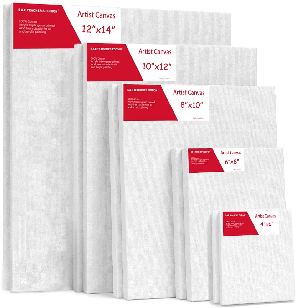 S & E TEACHER'S EDITION 10 Pcs Stretched White Blank Canvas, Multi Size Pack, 4x6