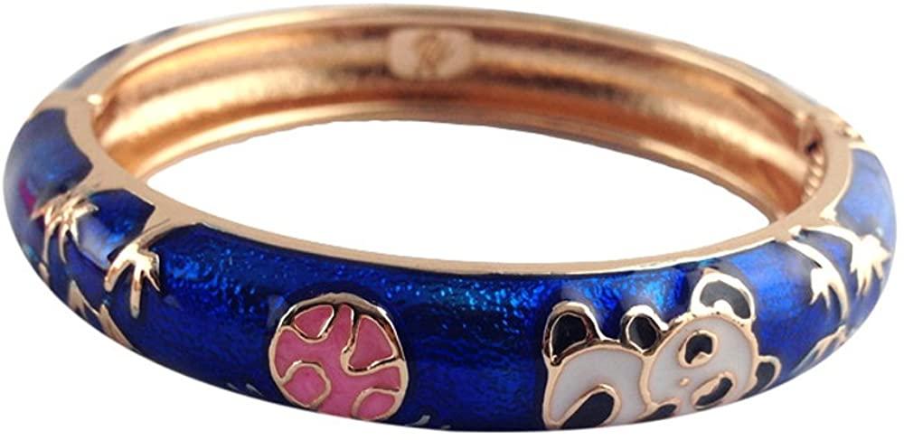 UJOY Cloisonne Bracelet Childrens Cute Gold Open Rabbit Animals Enameled Indian Bangle Girls Jewelry 55D02