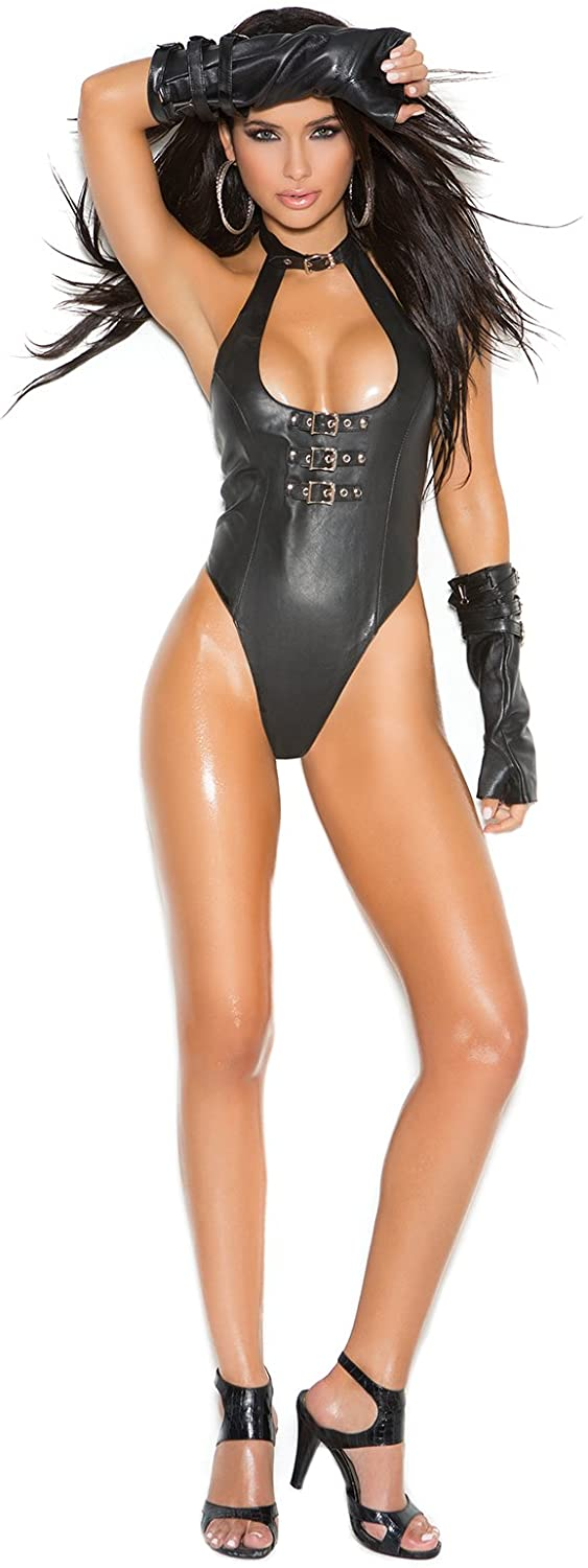 Leather Thong Back Teddy with Buckle Front Detail Role Play Lingerie Black