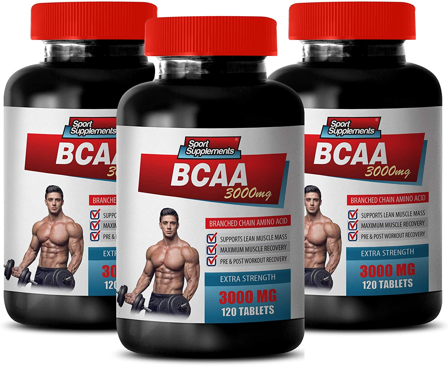 Muscle Pump Supplements - BCAA 3000MG - BRANCHED Chain Amino ACIDS - bcaa Vitamins - 3 Bottles 360 Tablets