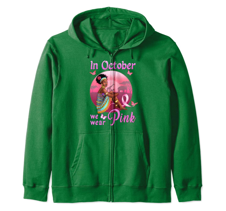 Breast Cancer Shirts for Black Women Blessed Pink Survivor Zip Hoodie
