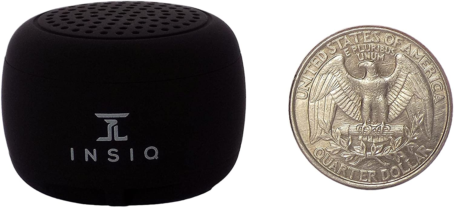 Worlds Smallest Portable Bluetooth Speaker - Great Audio Quality for its Size - 30+ Feet Range - Photo Selfie Button Answer Phone Calls Compact Compatible with Latest Phone Software (Black)
