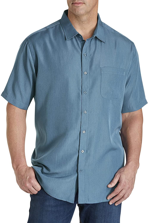 Harbor Bay by DXL Big and Tall Microfiber Comfort Grid Sport Shirt