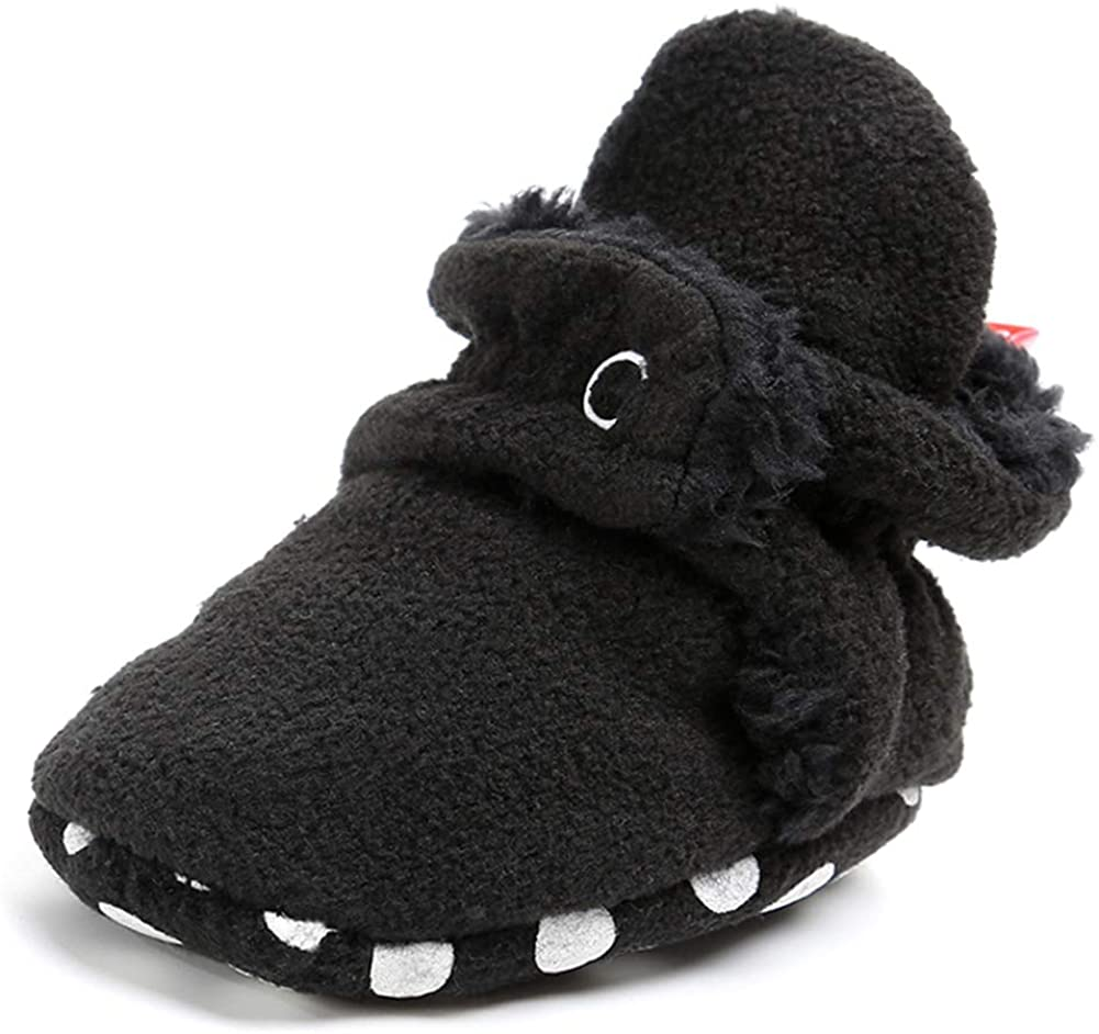 Mybbay Newborn Baby Boy Girl Soft Fleece Booties Stay On Infant Slippers Socks Shoe with Gripper Toddler First Walkers Winter Ankle Crib Shoes
