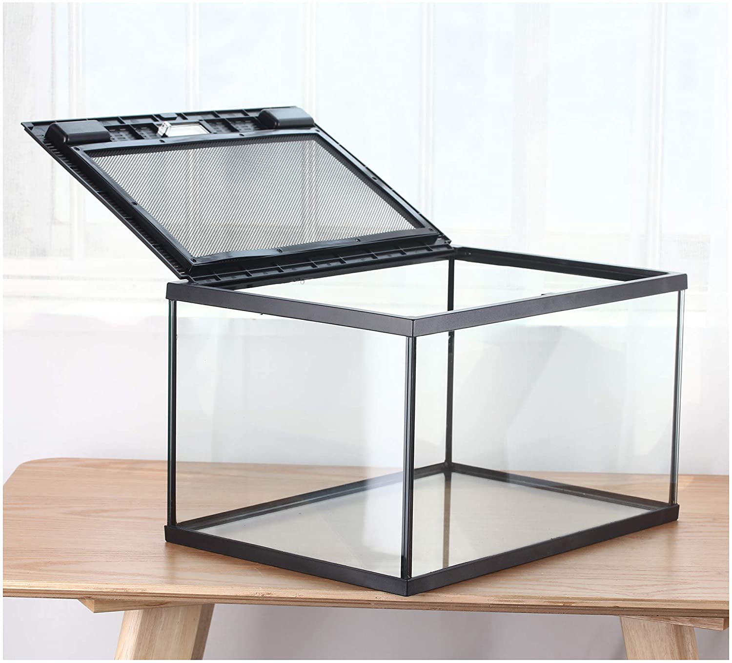 crapelles Reptile Rectangle Terrarium Pet Supplies breeding Glass Box Large, Color Black Metal Ventilation net Door for Reptile Amphibians Insect, Transparency Clearly Visible Waterproof