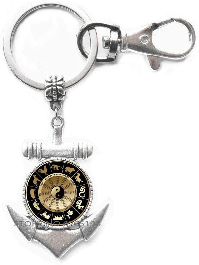 Chinese Horoscope, Year of Birth Key Ring Anchor Keychain, yin yang Jewelry,Birthday Key Ring Anchor Keychain Jewelry, Zodiac Signs,N067