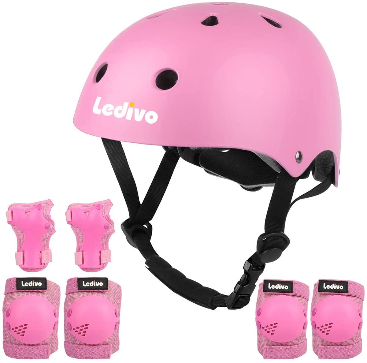 LEDIVO Kids Adjustable Bike Helmet Toddler Helmet for Kids 3-8 Years Girls Boys, Sport Protective Gear Set Knee Elbow Wrist Pads for Roller Skating Skateboard BMX Scooter Cycling