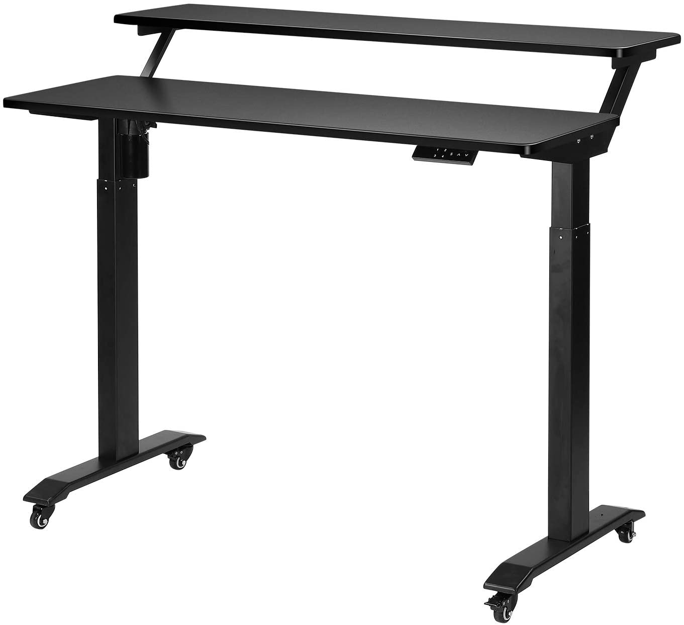 UNICOO - Electric Height Adjustable Standing Desk, Electric Standing Workstation Home Office Sit Stand Up Desk with 4 Pre-Set Memory Led Display Controller (Black Top/Black Legs-Electric- 2 Tier)