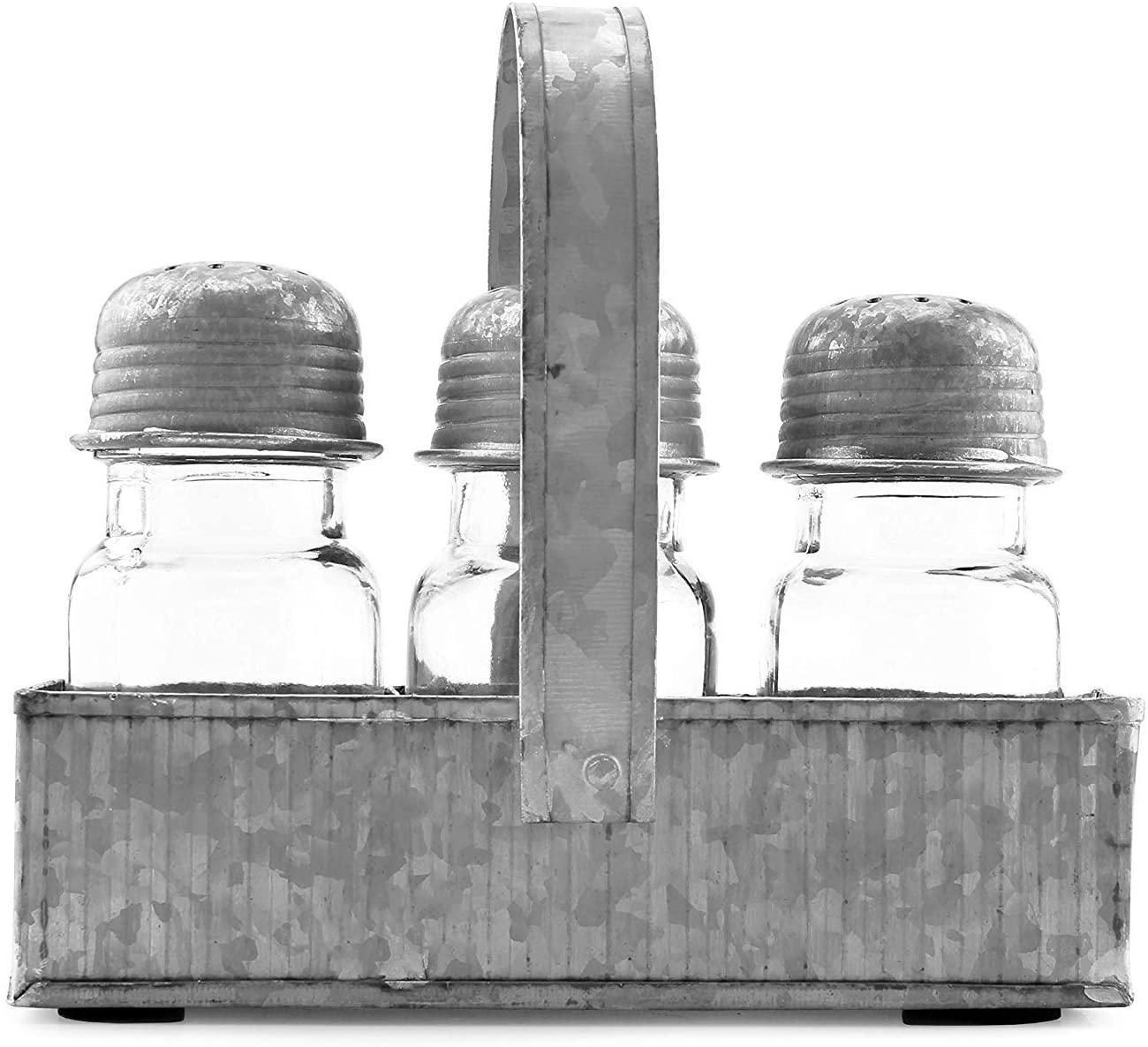 AuldHome Salt and Pepper Shaker Set (4-Piece Set); Farmhouse Galvanized Retro Vintage Style Shaker Set with Caddy
