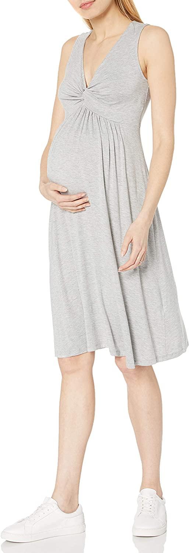 DHgate Brand - Daily Ritual Women's Maternity Sleeveless Gathered Center V-Neck Dress