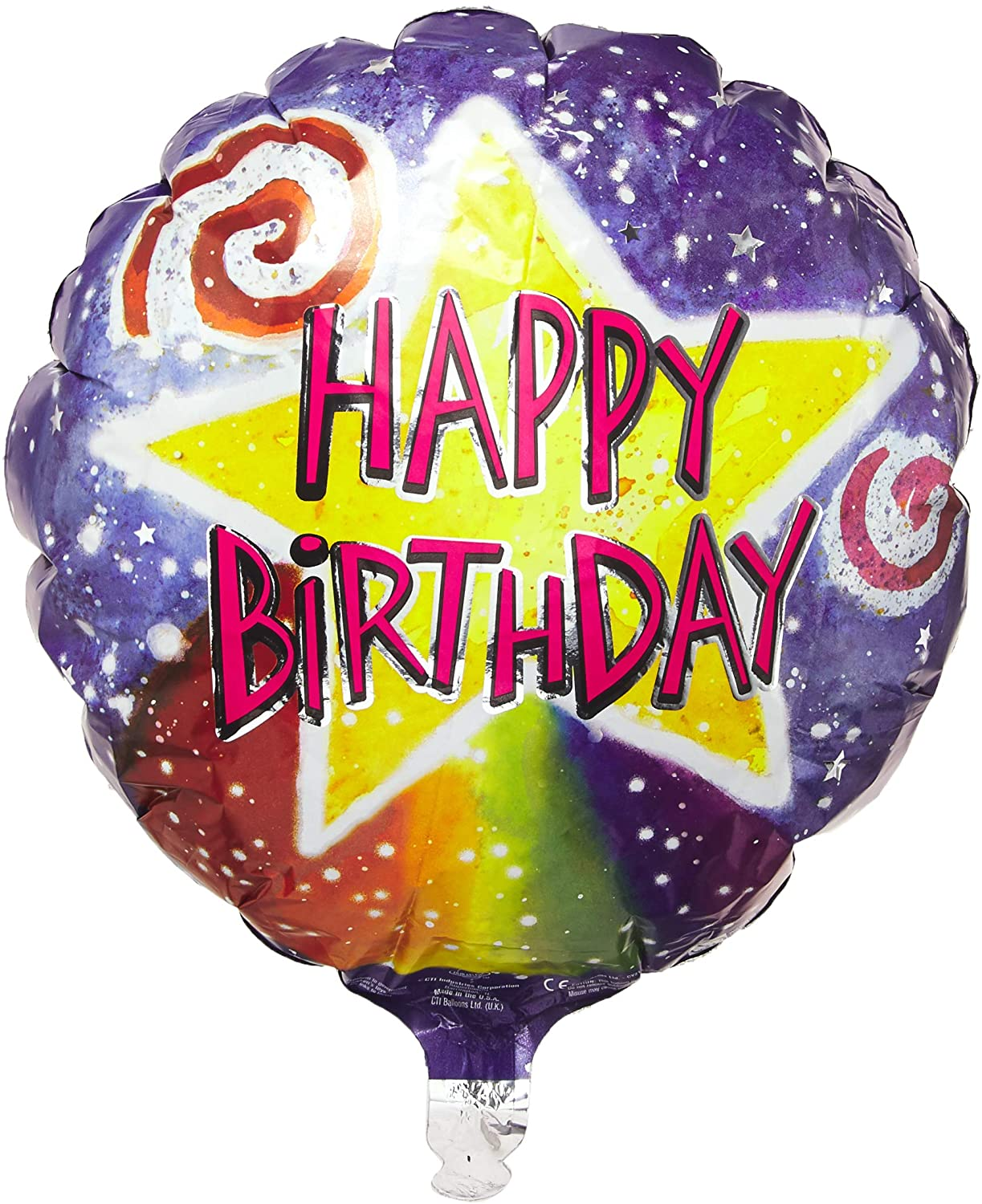 CTI Industries Happy B'day Watercolor Star Package Balloon, 18