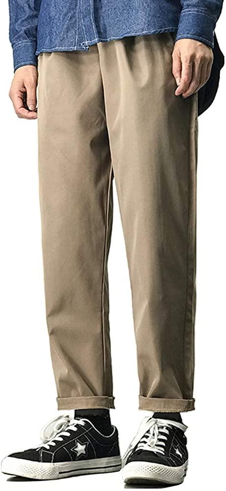 MHSLKER Men's Straight Fit Casual Pants Lightweight Elastic Waist Comfort Wrinkle Resistant Drawstring Trousers