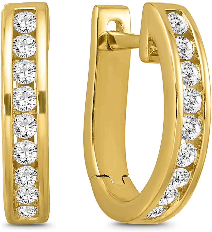 10K White Gold Diamond Channel set Oval Huggie Hoop Earrings for Women
