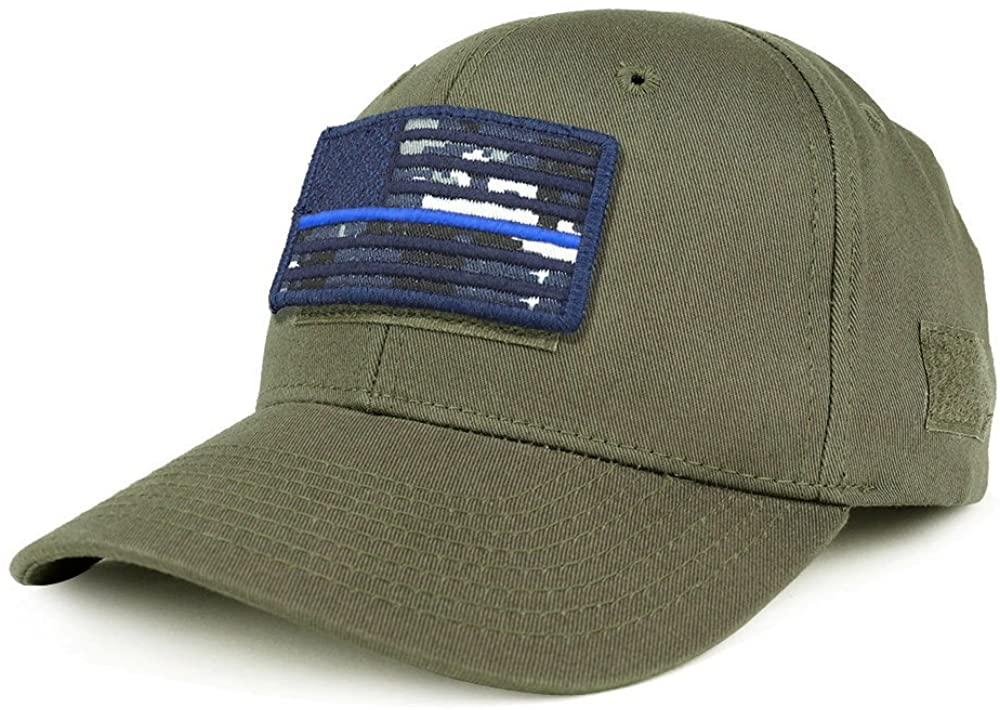 Armycrew USA NTG Thin Blue Flag Tactical Patch Structured Operator Baseball Cap