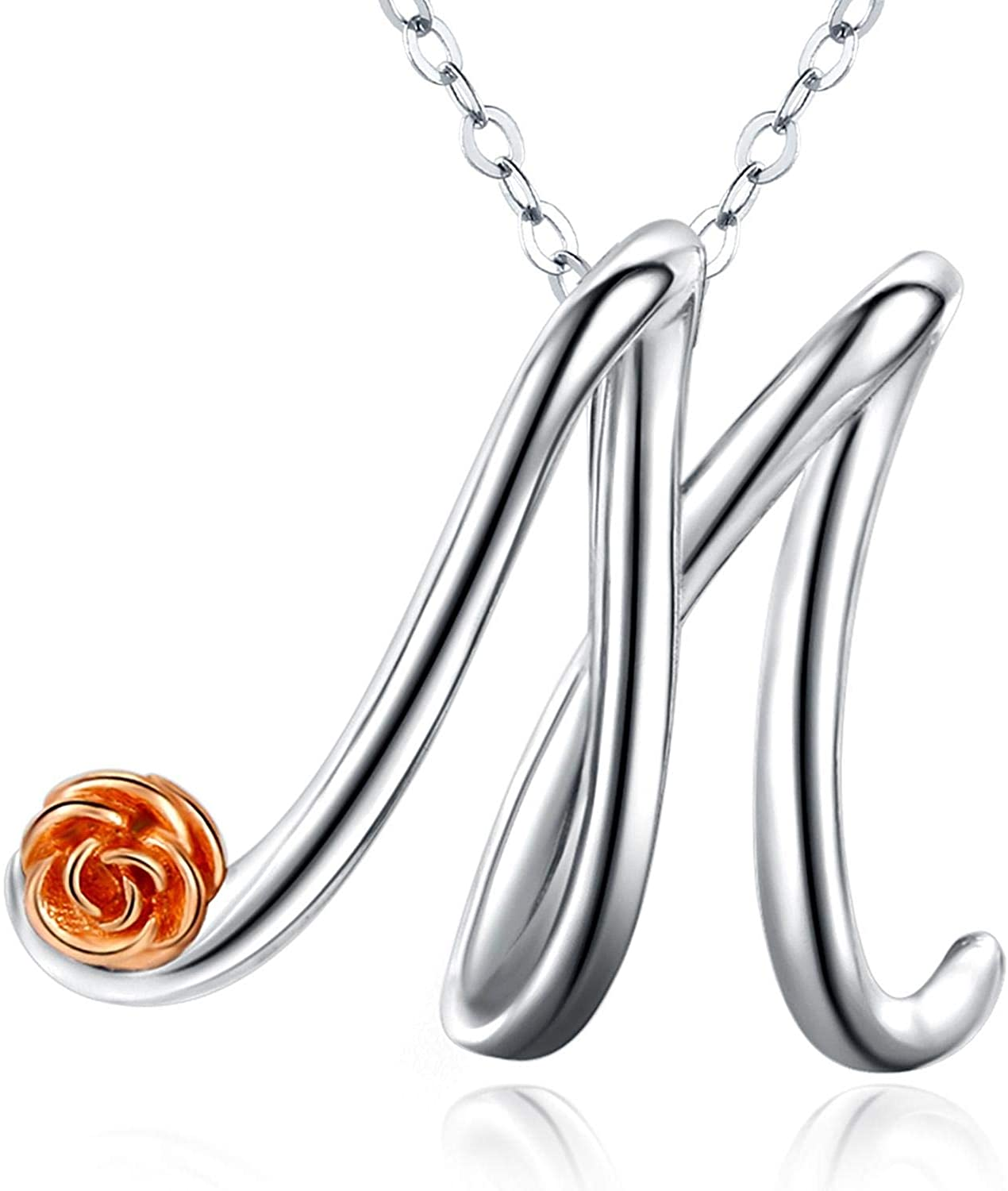 Aniu Initial Letter Necklace for Women, Sterling Silver Cursive Script Name Pendant, Alphabet Personalized Charm Jewelry Gift (Letter M)