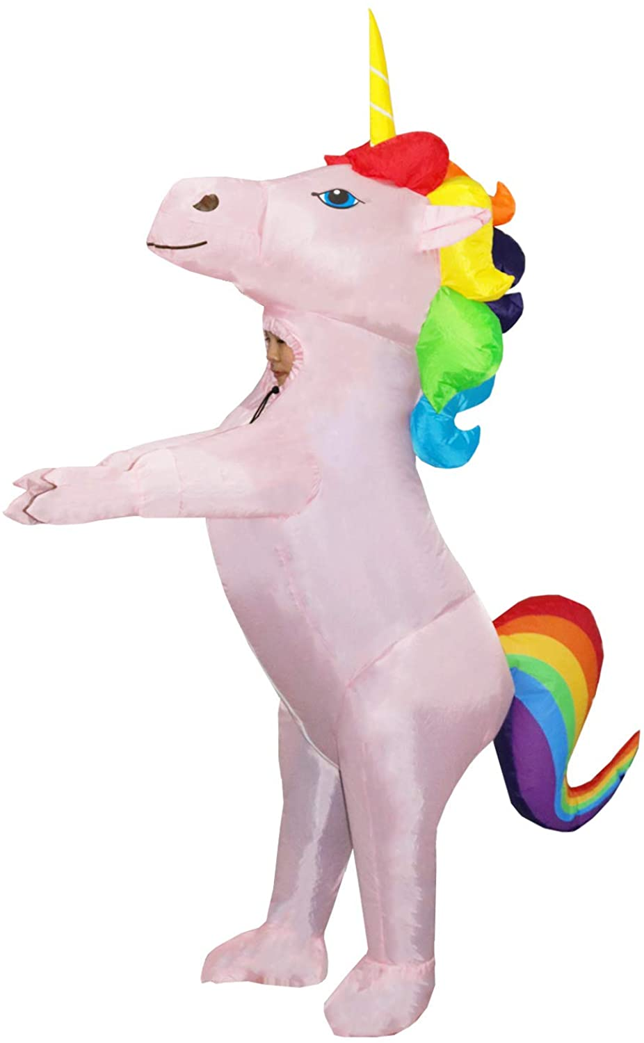 Child Inflatable Unicorn Costume Kids Full Body Suit Fancy Party Dress for Boys Girls Halloween Pink