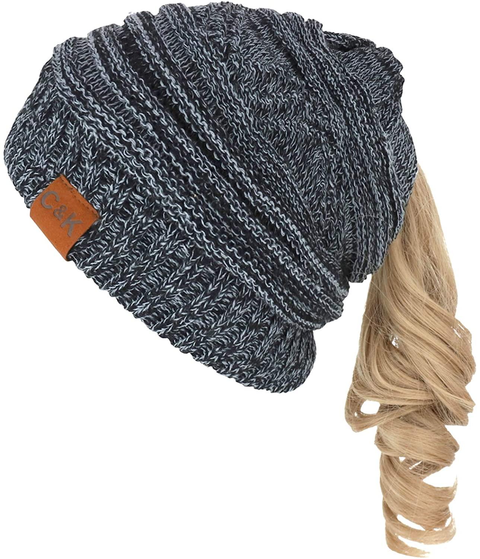 Trendy Apparel Shop 2 in 1 Winter Multi Knit Ponytail Slouchy Beanie Neck Warmer