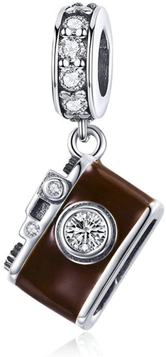 Authentic 925 Sterling Silver Camera Memory Charm Beads I Love to Travel Charms for Bracelet & Necklace