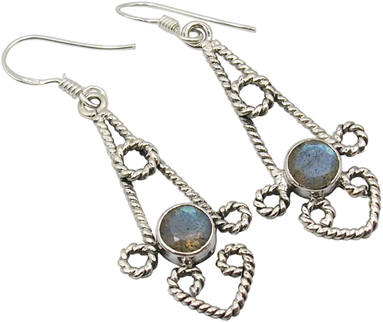 SilverStarJewel 925 Pure Silver Women Jewelry Faceted Labradorite Earrings 2