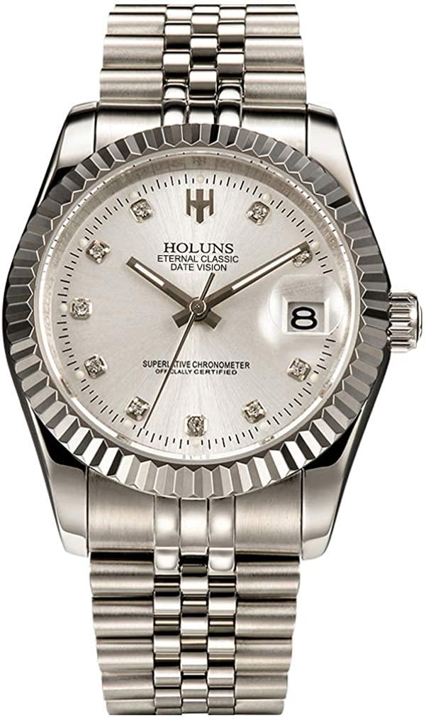 Mens Automatic Watch with Calendar Diamond Luminous Wrist Watches