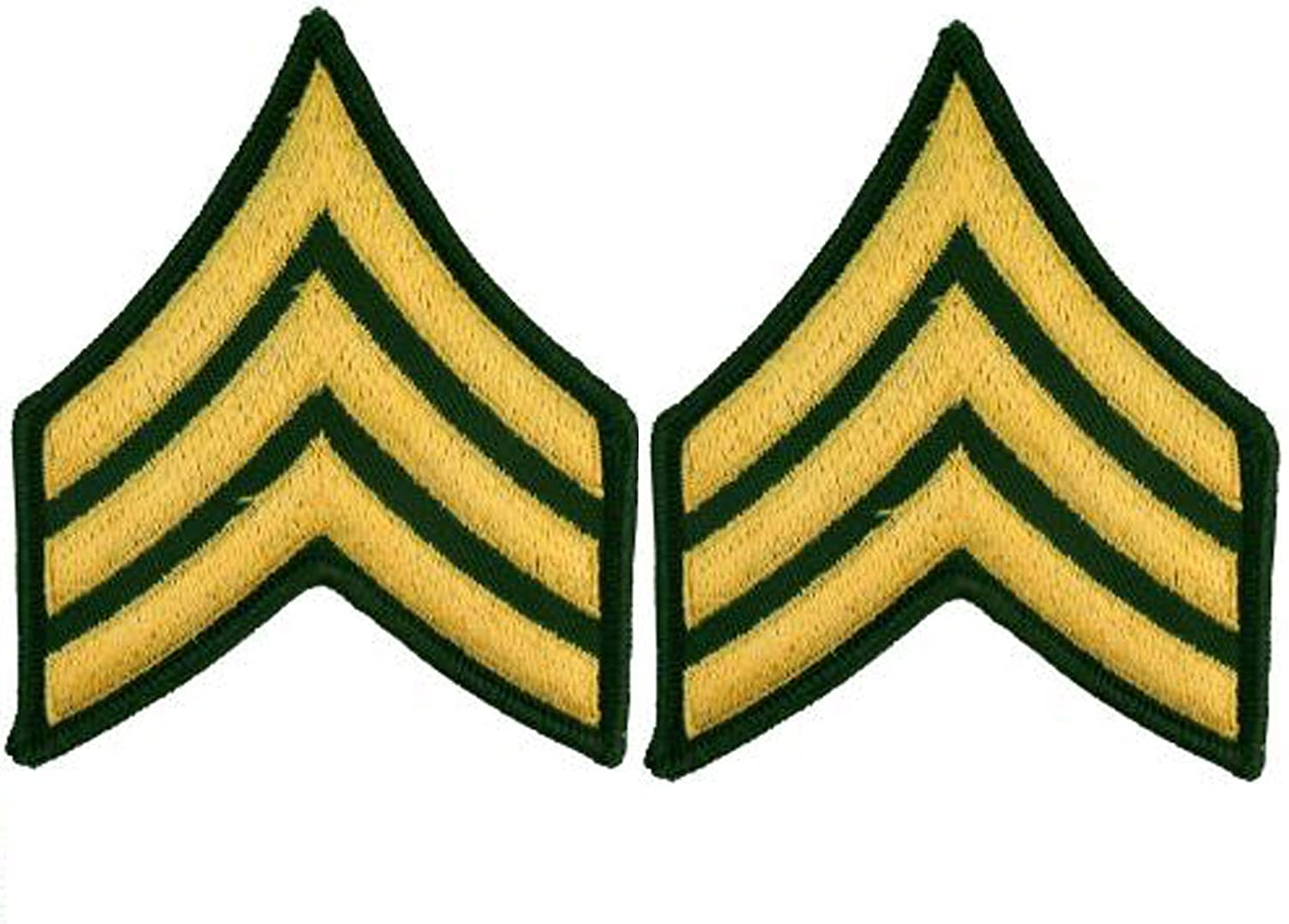 United States Army Rank E5 Sergeant SGT Patches, Dress Green, with Iron-On Adhesive (Set of Two)