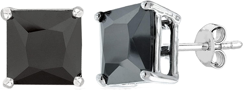 Sterling Silver Rhodium Finish Princess Cut Black Cubic Zirconia Stud Earring