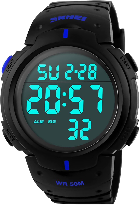 PASOY Men Women Digital Watch Big Dial Light LED Swim Waterproof Rubber Band Alarm Black LED Watches 50MM (Blue), Large