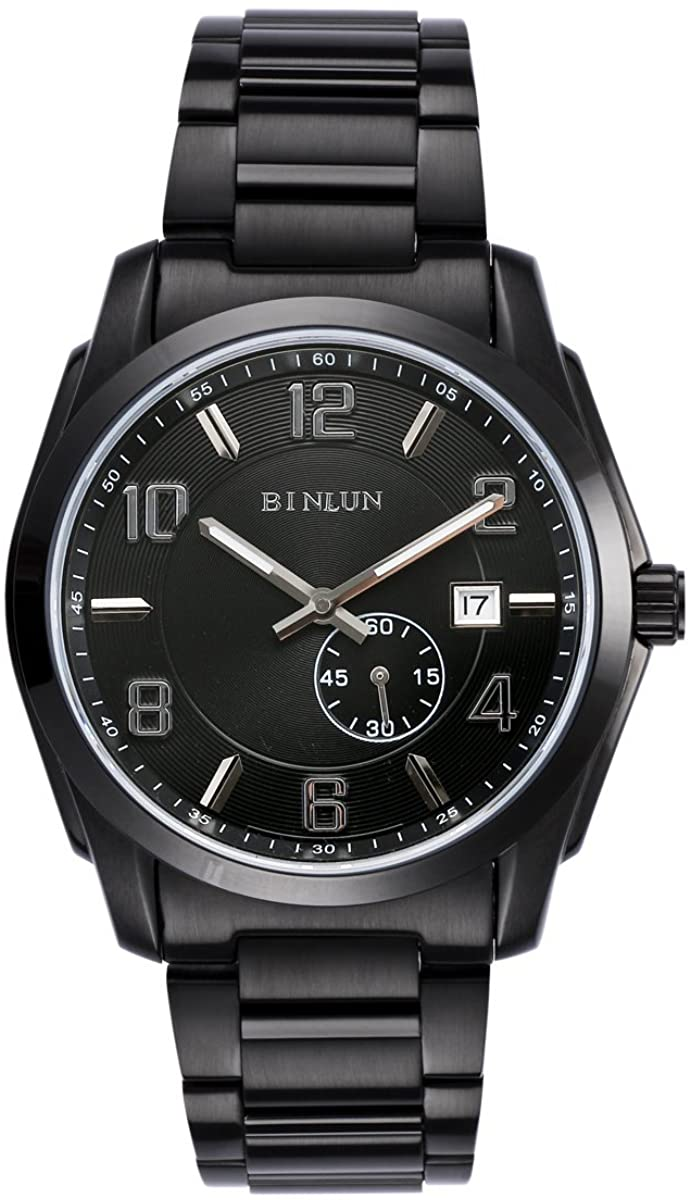 BINLUN Automatic Watches for Men All Black Military Officer Watch with Waterproof Luminous Calender