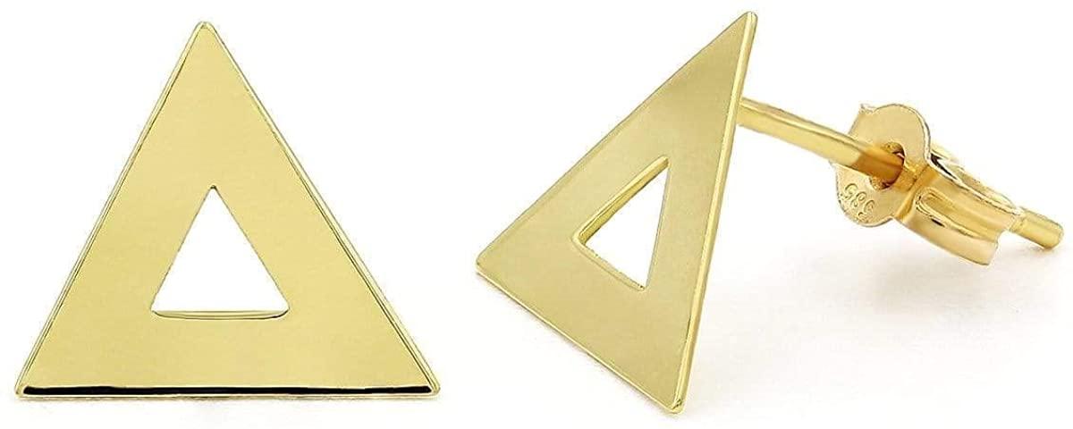 14K Gold High Polished Delta Triangle Stud Earrings, Giorgio Bergamo