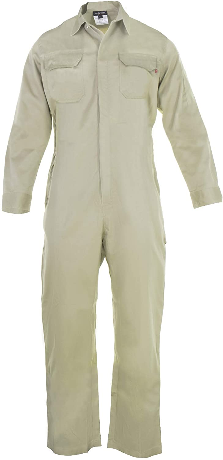 Just In Trend ǀ Flame Resistant FR Coverall - 88% C / 12% Nylon (3X Large, Khaki)