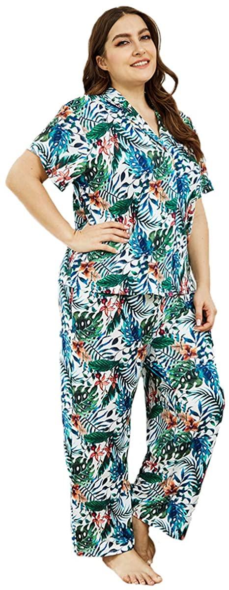 seven wolves Printed Sleepwear Women's Pajama Set Button-Down Nightwear Soft Pj Short Sleeve Pants