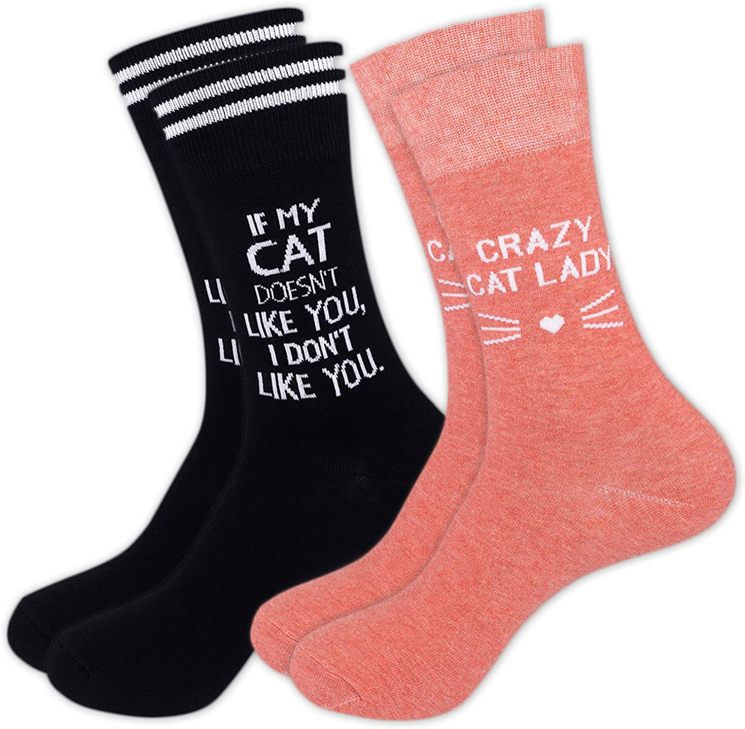 Funatic 2 Pairs of Crazy Cat Lady Socks in Pink and Black | One Size Fits Most Novelty Gift for Animal Lover, Birthday Present, Bestie and Friends