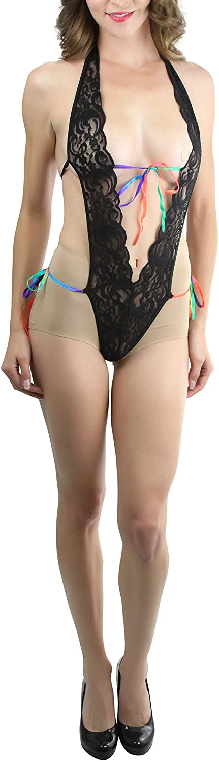 ToBeInStyle Women's Lace V Teddy With Tying Rainbow Strings