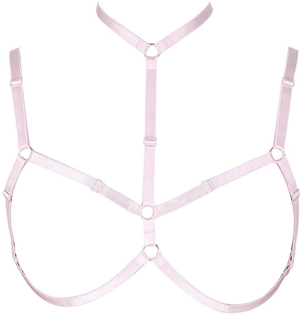 MAMOHSS Womens Elastic Body Harness Strappy Alluring Cage Bra Hollow Out Cupless Bras