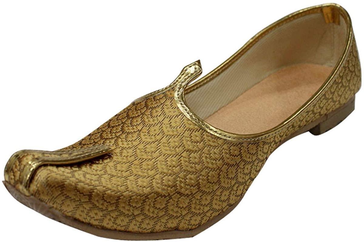 StopnStyleMens Gold Antique Wedding Shoes Formal Shoes Handmade Jooti Ethnic Jutti Mens Mojari
